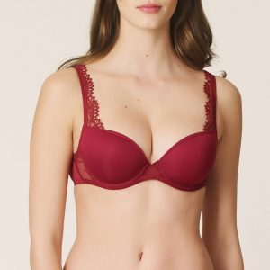 buy the Marie Jo Agatha Padded Plunge Bra in Rumba Red