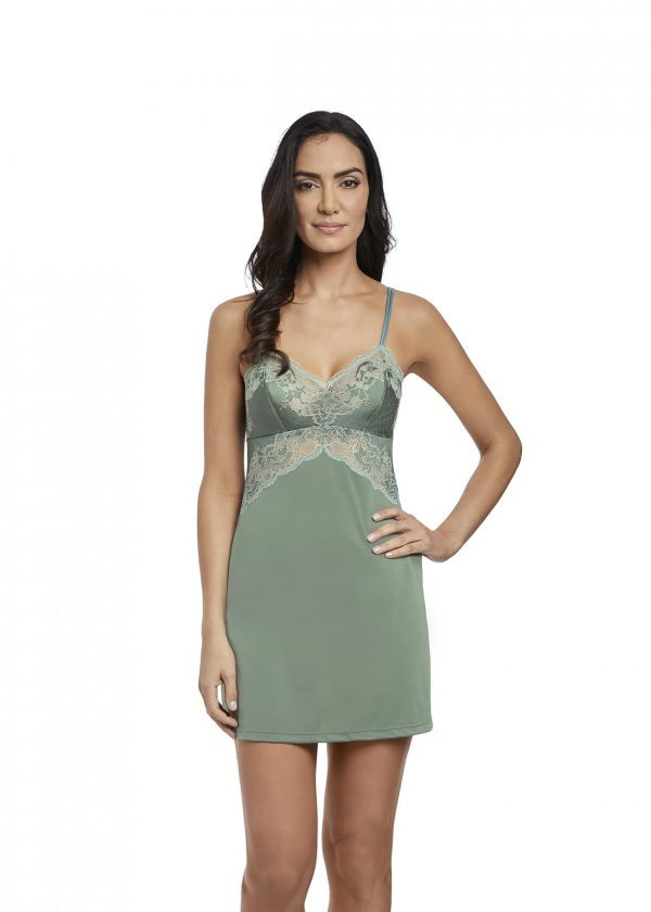 buy the Wacoal Lace Affair Chemise in Balsam Green/Slate
