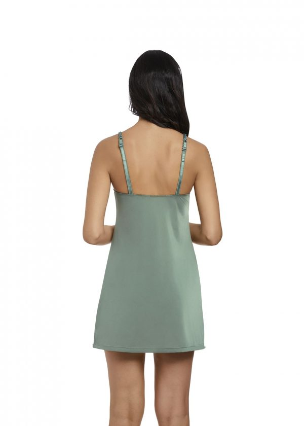 back view of Wacoal Lace Affair Chemise in Balsam Green/Slate