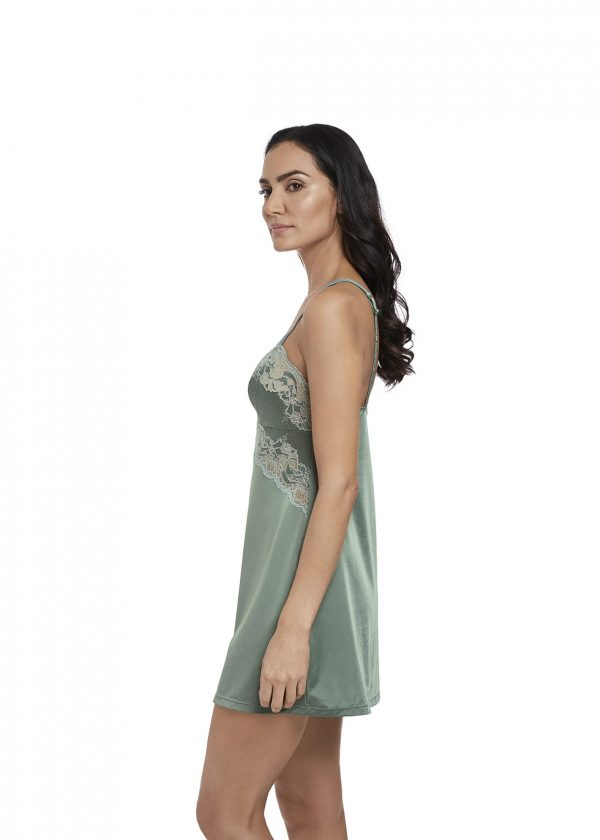 side view of Wacoal Lace Affair Chemise in Balsam Green/Slate