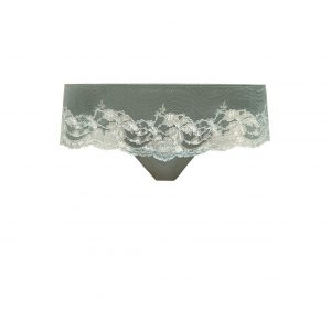 close up of Wacoal Lace Affair Tanga in Balsam Green/Slate