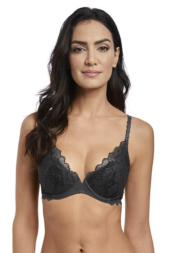 0e648794f3 Wacoal Lace Perfection Push Up Bra in Charcoal - Victoria s Little Bra Shop