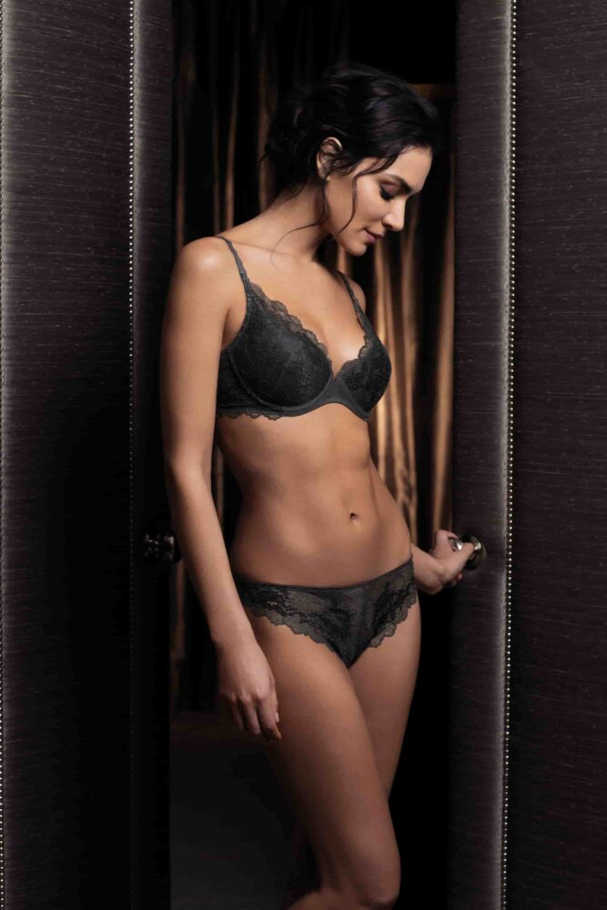 7f6cf80e74 Wacoal Lace Perfection Push Up Bra in Charcoal - Victoria s Little ...