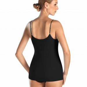 back view of Hanro Cotton Seamless Spaghetti Top in Black