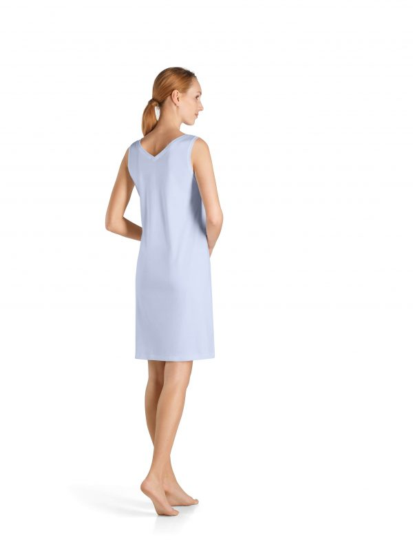 back view of Hanro Pure Essence Sleeveless Nightdress in Blue Glow