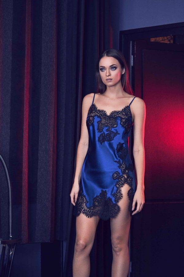 buy the Marjolaine Flora Silk Chemise in Electric Blue