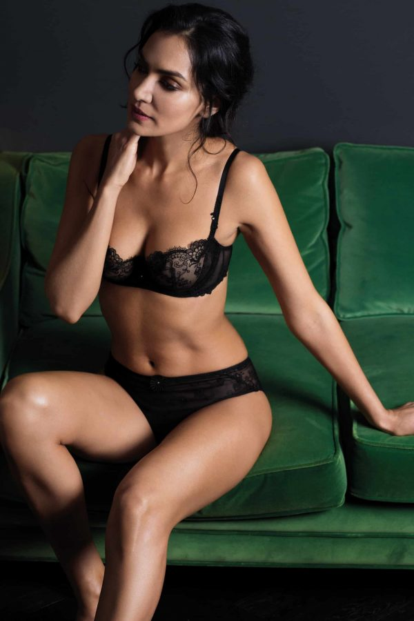 wearing the Wacoal Opulence Balcony Bra in Black