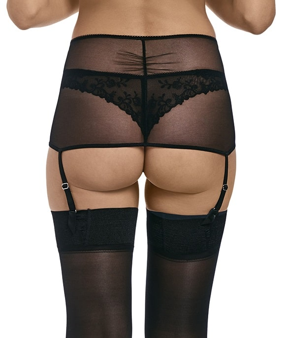 back view of Wacoal Opulence Suspender in Black