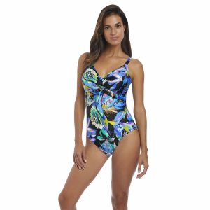 buy the Fantasie Paradise Bay Twist Front Swimsuit in Aqua Multi