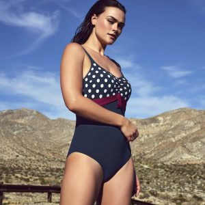 wearing the PrimaDonna Swim Pop Padded Swimsuit in Blue Eclipse