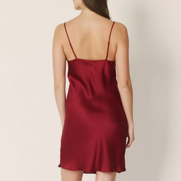 back view of Marie Jo Agatha Silk Chemise in Rumba Red