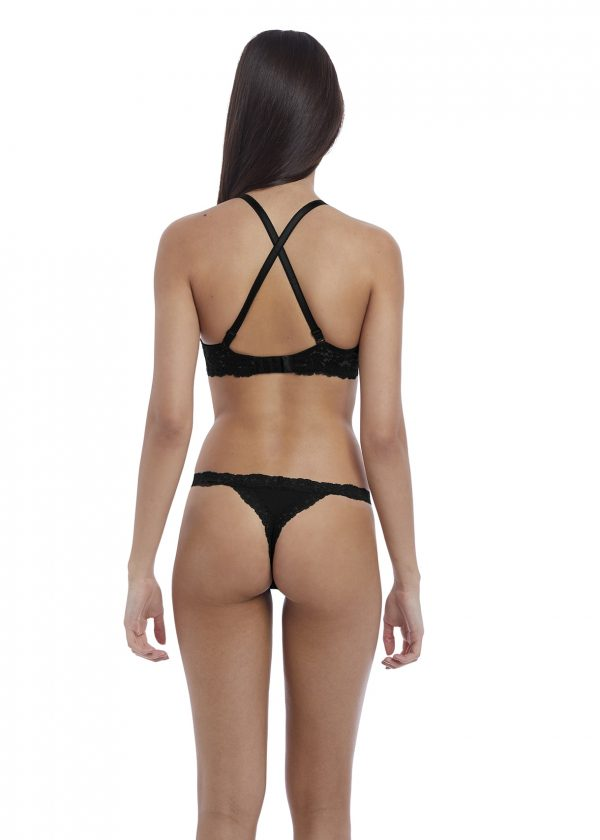 cross over back of b.tempt'd Insta Ready Plunge Bra in Black