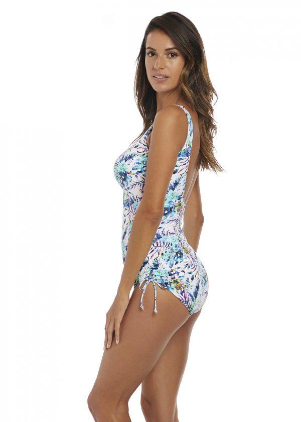 side view of Fantasie Fiji Adjustable Leg Swimsuit in Aqua Multi