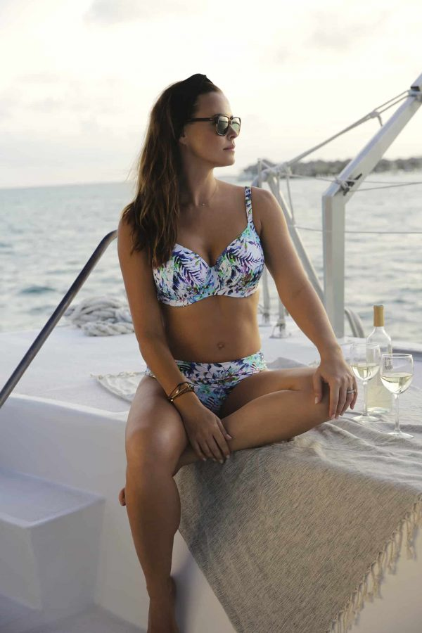 wearing the Fantasie Fiji Bikini Set in Aqua Multi
