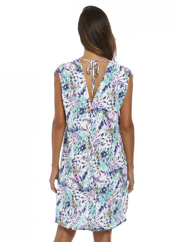 back view of Fantasie Fiji Dress in Aqua Multi