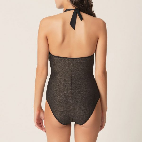 back view of Marie Jo Swim Ornella Padded Swimsuit in noir doré