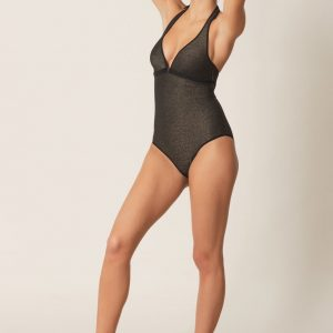 wearing the Marie Jo Swim Ornella Padded Swimsuit in noir doré