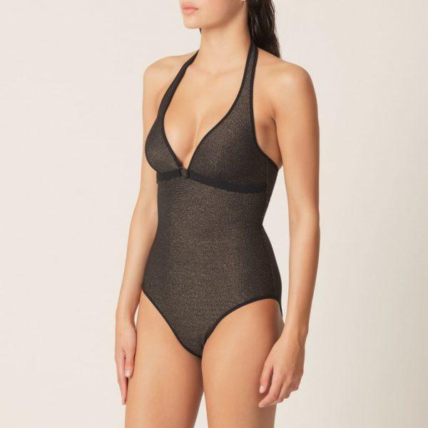 side view of Marie Jo Swim Ornella Padded Swimsuit in noir doré
