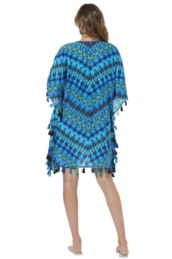 back view of Miraclesuit Cabana Chic Caftan in Blue