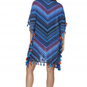 back view of Miraclesuit Marrakech Caftan in Blue