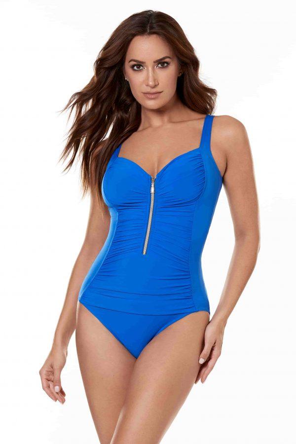Miraclesuit So Riche Zipcode Swimsuit in Delphine