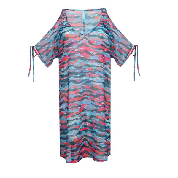 close up of PrimaDonna Swim New Wave Kaftan in Clash