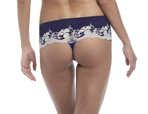 back view of Wacoal Lace Affair Tanga in Patriot Blue