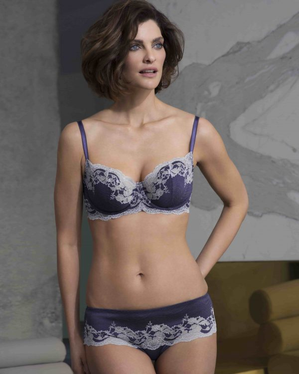 wearing the Wacoal Lace Affair Underwire Bra in Patriot Blue