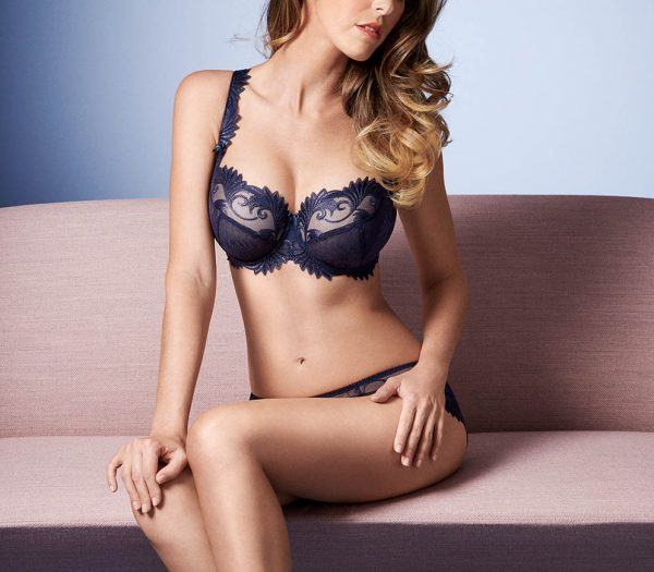 buy the Empreinte Thalia Low Neck Bra in Shiny Blue