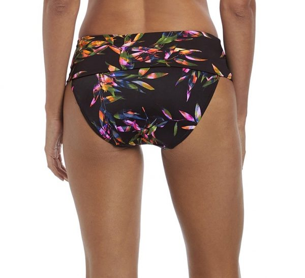 back view of Fantasie Palawan Bikini Set in Black classic fold brief