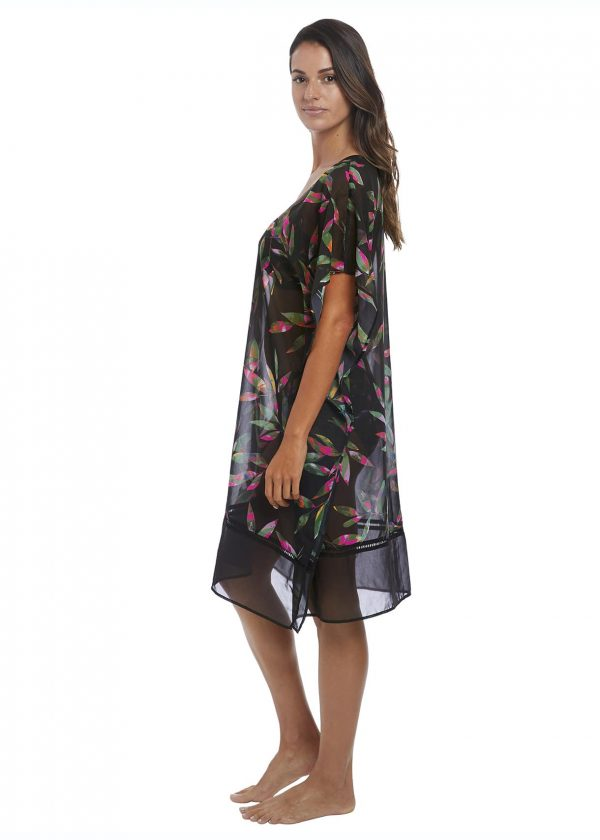 side view of Fantasie Palawan Kaftan in Black