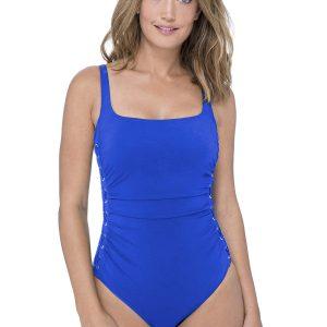 Gottex Profile Moto Square Neck Swimsuit in Sapphire