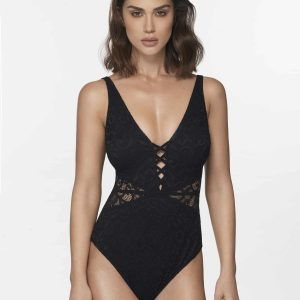 buy the Gottex Profile Shalimar Lace Swimsuit in Black