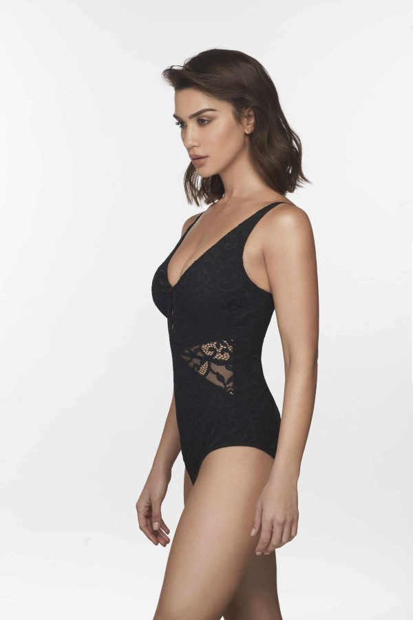 side view of Gottex Profile Shalimar Lace Swimsuit in Black