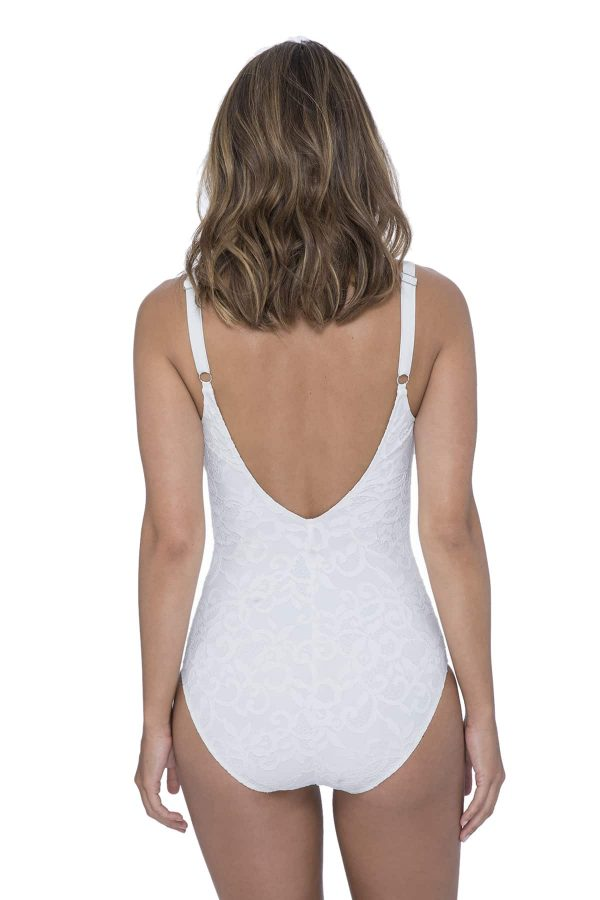 back view of Gottex Profile Shalimar Lace Swimsuit in Ivory