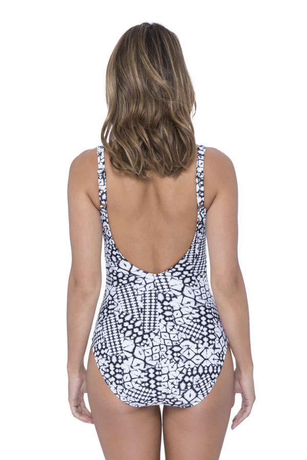 back view of Gottex Profile Tribal Batik V-neck Swimsuit in Black White