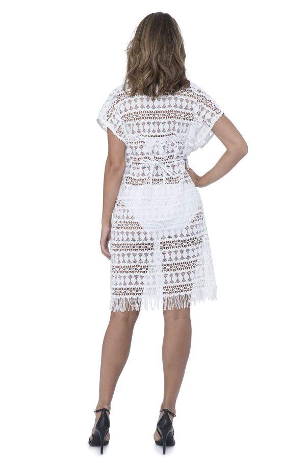 back view of Gottex Profile Tutti Frutti Crochet Dress in White
