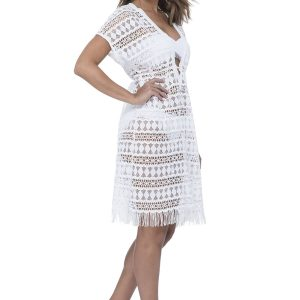 side view of Gottex Profile Tutti Frutti Crochet Dress in White