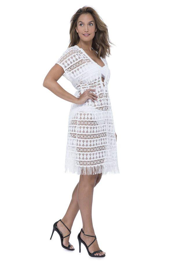 side view of Gottex Profile Tutti Frutti Crochet Dress in White