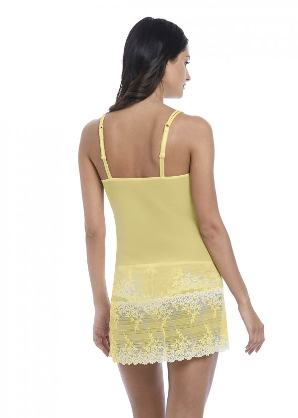 back view of Wacoal Embrace Lace Chemise in Lemon Ivory
