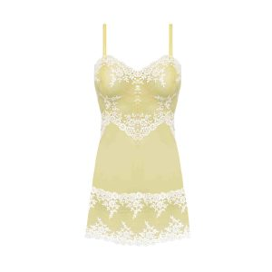 close up of Wacoal Embrace Lace Chemise in Lemon Ivory