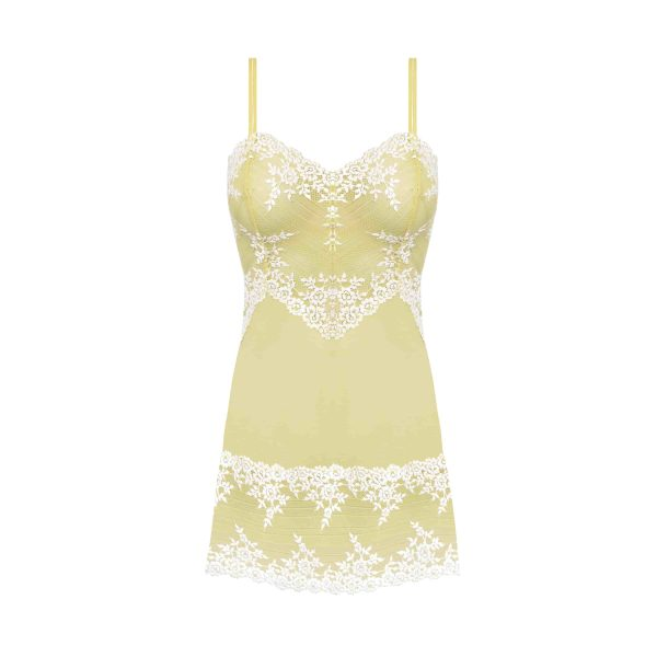 close up of Wacoal Embrace Lace Chemise in Lemon Ivory