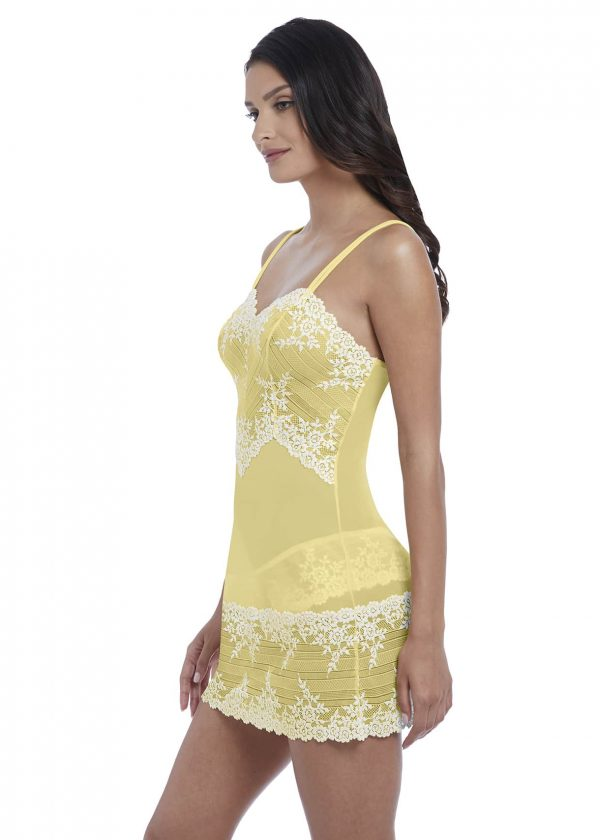 side view of Wacoal Embrace Lace Chemise in Lemon Ivory