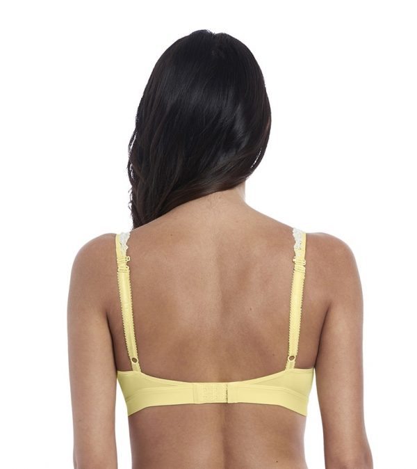 back view of Wacoal Embrace Lace Soft Bra in Lemon Ivory