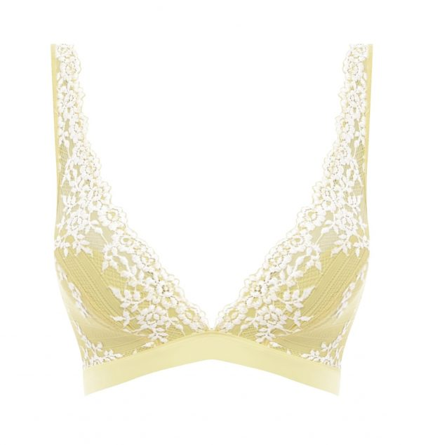 close up of Wacoal Embrace Lace Soft Bra in Lemon Ivory
