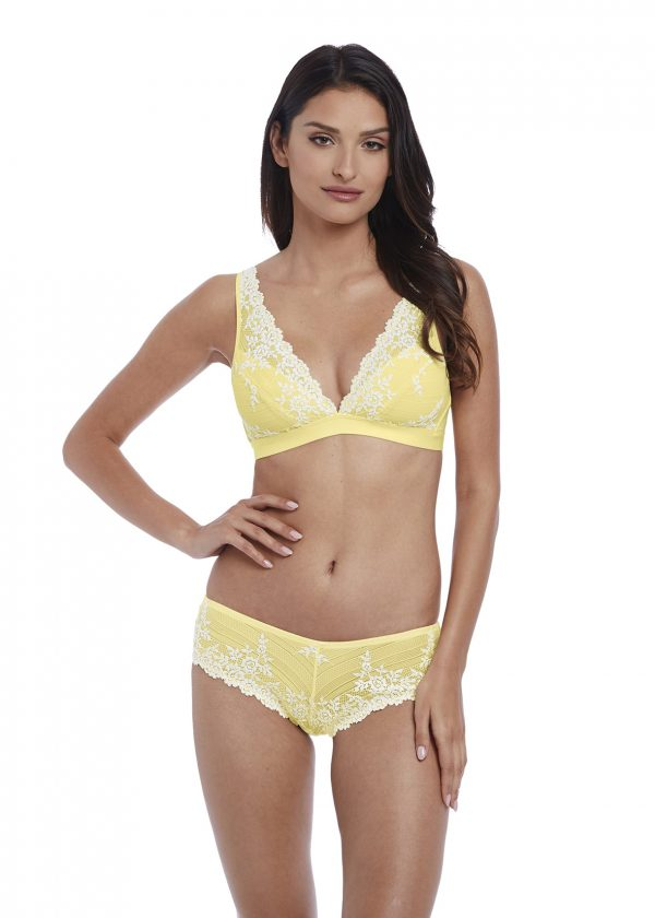 wearing the Wacoal Embrace Lace Soft Bra in Lemon Ivory with tanga