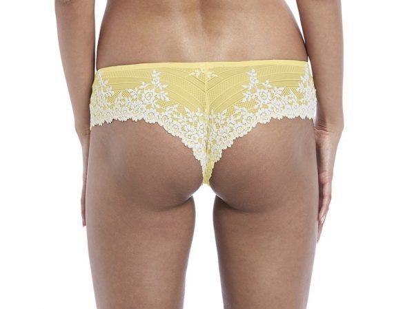 back view of Wacoal Embrace Lace Tanga in Lemon Ivory