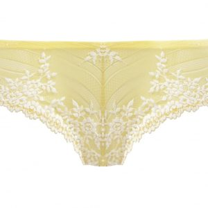 close up of Wacoal Embrace Lace Tanga in Lemon Ivory