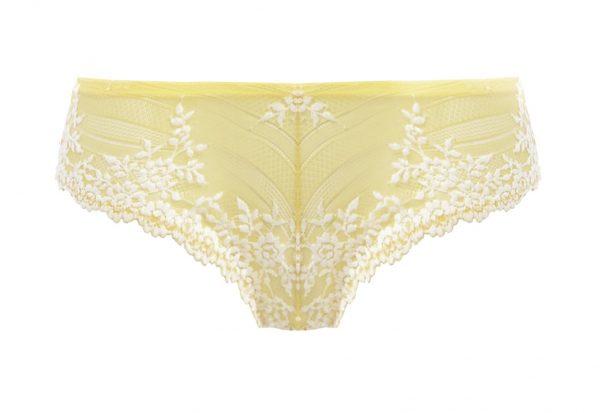 close up of Wacoal Embrace Lace Tanga in Lemon Ivory