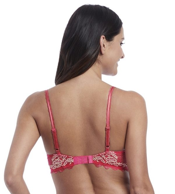 back view of Wacoal Lace Perfection Push Up Bra in Honeysuckle
